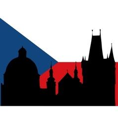 silhouette of prague vector image
