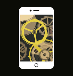 smartphone with a vintage gear mechanism inside vector image