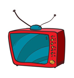 vintage tv color icon with a black outline on a vector image vector image
