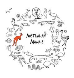 australian animals set sketch for your design vector image