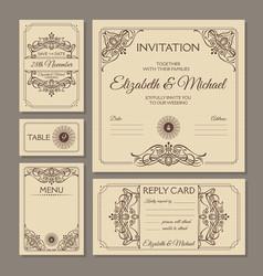 calligraphic vintage floral wedding cards vector image