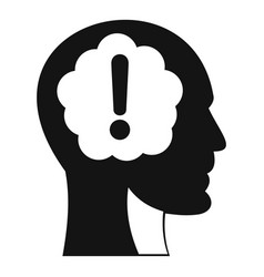 head with exclamation mark inside icon vector image vector image