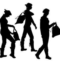 silhouette of the girl with a bag vector image