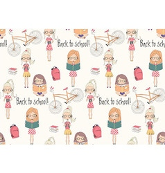 Back to school seamless pattern with school girls vector image vector image