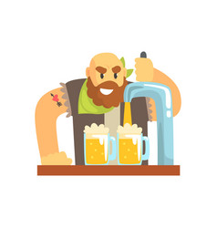 bald bearded bartender man character standing at vector image