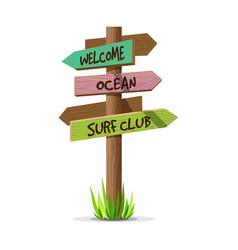 colored wooden arrow resort signboard vector image vector image