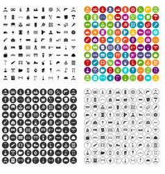 100 construction worker icons set variant vector