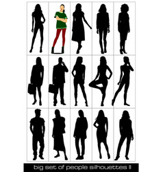 15 people silhouettes black and white vector image