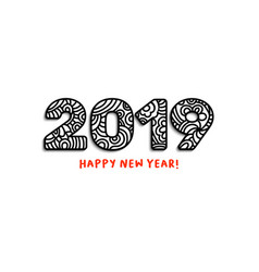 2019 lettering happy new year greeting or for vector image