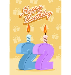 22 years celebration 22nd happy birthday vector image