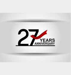 27 years anniversary design with red ribbon vector