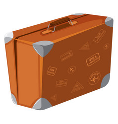 a vintage suitcase on white background vector image