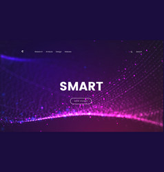 Abstract landing page template with a glowing vector