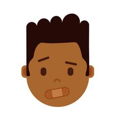African boy head emoji with facial emotions vector
