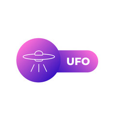 alien spaceship ufo flat icon on white background vector image