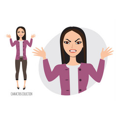 Angry asian woman in stress vector