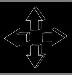 arrow hand drawn sketch on black background vector image