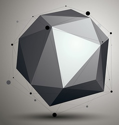 Asymmetric 3D abstract object with connected lines vector