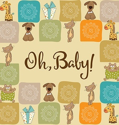 Baby shower card with animals vector