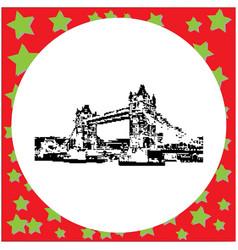 black 8-bit tower bridge isola vector image