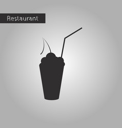 black and white style icon cocktail with cherry vector image