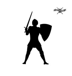 black silhouette of knight with sword vector image