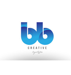 Blue gradient bb b b alphabet letter logo vector