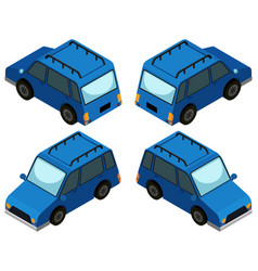 Blue van from four different angles vector