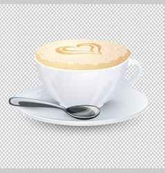 Cappuccino with a heart on milk foam popular vector