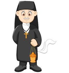 cartoon catholic priest vector image