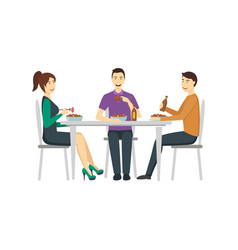 cartoon color characters people in restaurant vector image