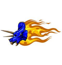 cartoon dragon head isolated on white vector image