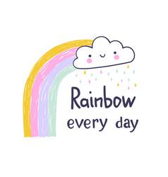 Cartoon rainbow and cloud hand draw design for vector