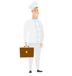 caucasian chef cook holding briefcase vector image