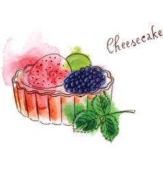 Cheescake with fruits vector