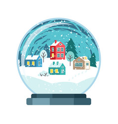 christmas snow globe with small houses vector image