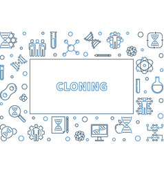 Cloning concept line horizontal frame or vector
