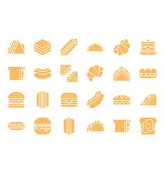 Club sandwich hotdog burger fast food glyph icon vector