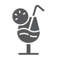 cocktail glyph icon alcohol and beverage drink vector image