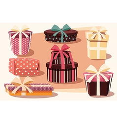 Collection of colorful gift boxes bows and ribbons vector