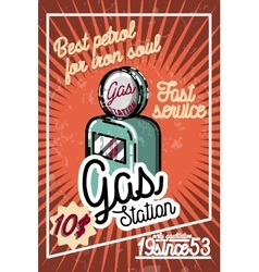 Color vintage gas station poster vector image