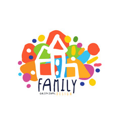 colorful family logo design with city houses vector image