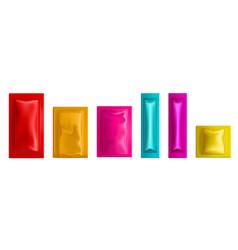 Colorful sachet pouch bags packs 3d mockup vector