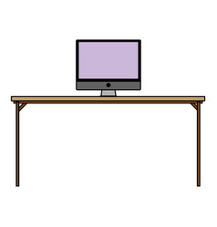 Colorful wood desk object with computer technolgy vector