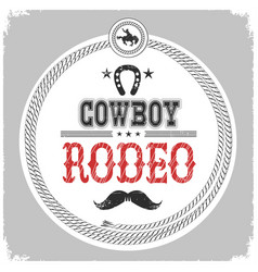 Cowboy rodeo label with decoration vector