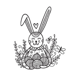cute bunny with yarn ball coloring vector image