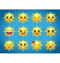 Cute cartoon sun character emotions vector