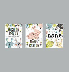 cute easter invitations and greeting cards set vector image