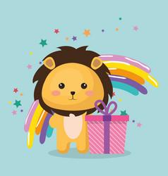 Cute leon with gift kawaii birthday card vector