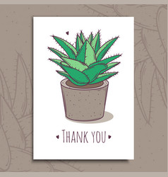 decoration plant succulent greeting post card vector image
